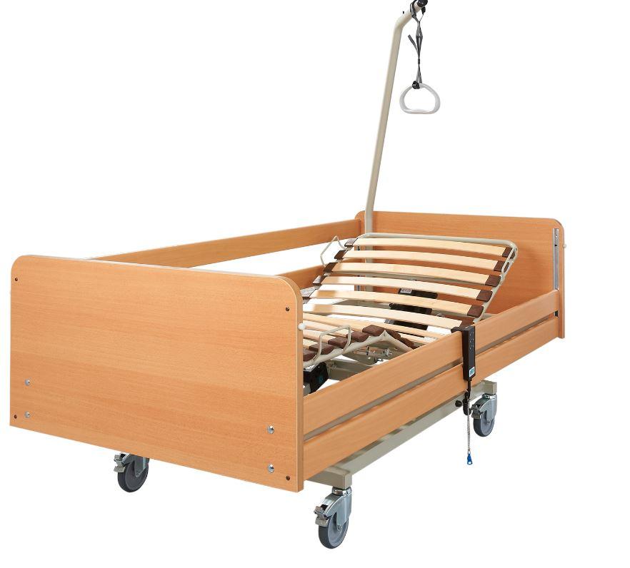 AKS S4 Pflegebett- das wohnliche Krankenbett für die häusliche Pflege- mit Holzfederleisten- bis 135 kg