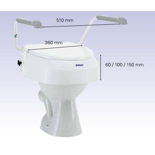 Aquatec 900 Toilettensitzerhöhung- 10cm- mit Deckel- mit Armlehnen- drei Sitzhöhen (6-10-15cm) einstellbar- neue MDR Ausführung- bis 120kg