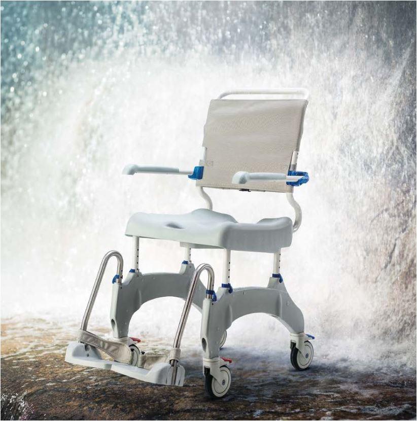 Aquatec Ocean Ergo-5 XL Dusch- und Toilettenrollstuhl- 5 Räder inkl- Feststeller- Schiebeversion- bis 180 kg