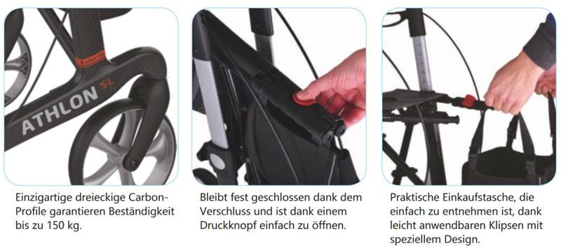 Athlon SL HD Superleicht Carbon-Rollator- mit Original-TPE-Räder- ab 6 kg- Gehwagen mit Einkaufstasche und Stockhalter- Sitzbreite 55cm- XL Version bis 200kg