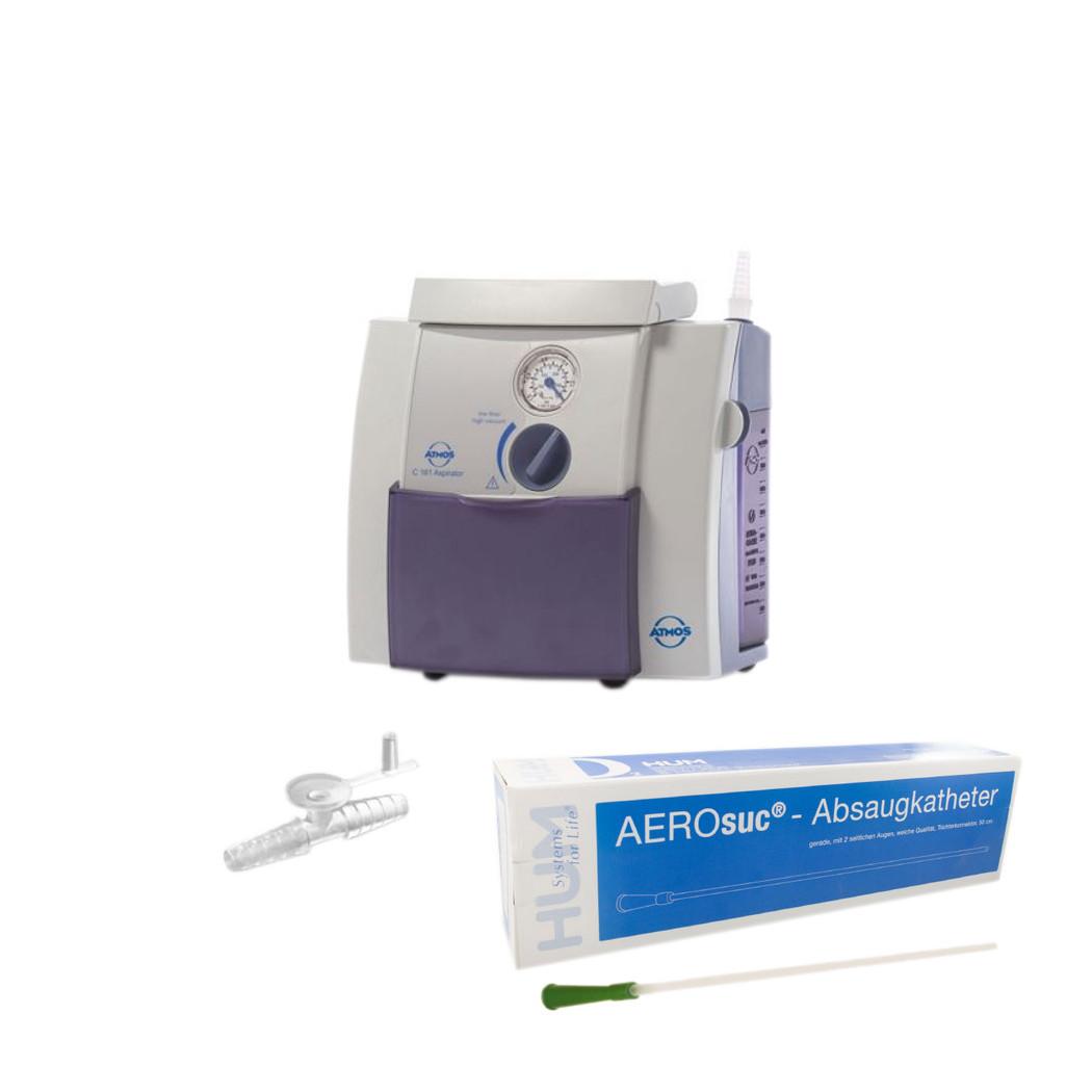 Atmos C 161 SET Aspirator DDS Absauggerät- netzabhängiger Atemwegsauger mit stufenloser Vakkumeinstellung- inkl- Absaugkatheter (P-100) und Fingertip (P-2)