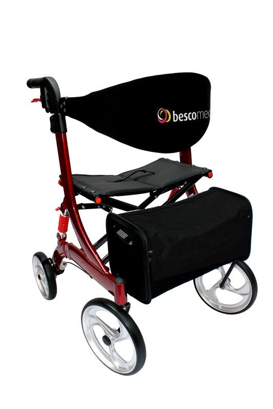 Bescomed Spring M rot- Leichtgewicht Rollator- mit justierbaren Spiralfedern