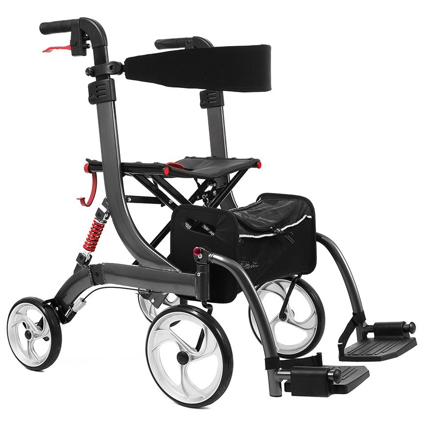 Bescomed Spring VARIO-M- Rollator und Rollstuhl- graphitgrau- 2in1- Alu Leichtgewichtsrollator- neue Serie- inkl- Beinstützen und Komfort-Rückengurt