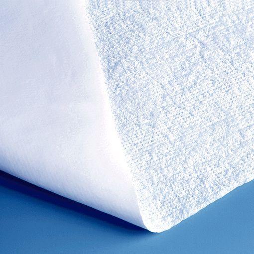 Bettschutzeinlage Frottee 100x150cm- Superqualität- Matratzenschutz- Oberseite: 80 - Baumwolle- 20 - Polyester- Unterseite: 100 - Polyvinylchlorid