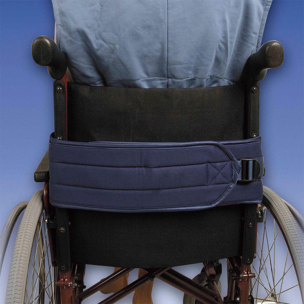 Biocare Basis Klett Rollstuhlgurt- flüssigkeitsabweisend blau- Patientensicherungssystem im Rollstuhl- mit Klettverschluss