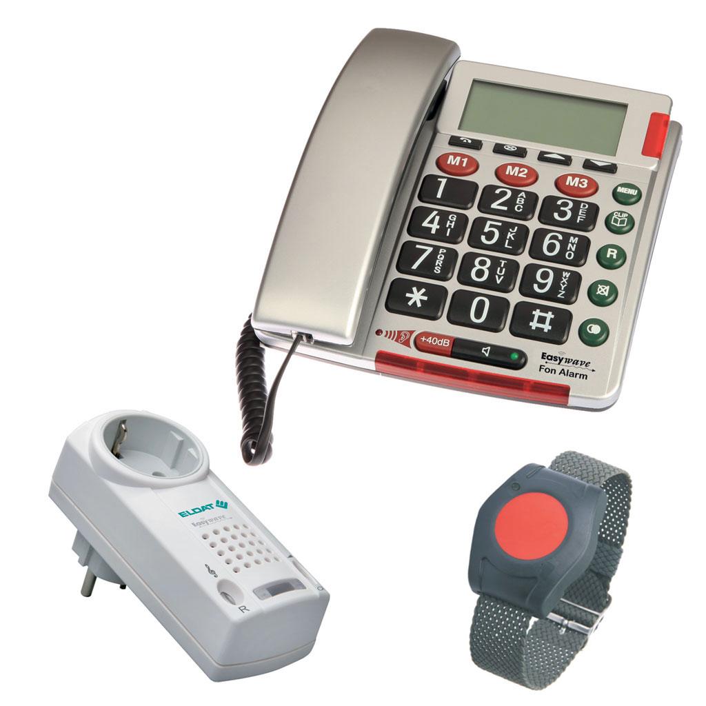 Eldat Funk-Pflegeruf Empfänger Plus mit Notruftelefon Easywave- Empfänger bis 150 m