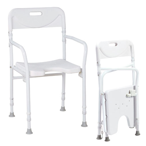 Faltbarer Duschstuhl- mit Armlehnen und Rückenlehne- Aluminium- bis 120kg belastbar