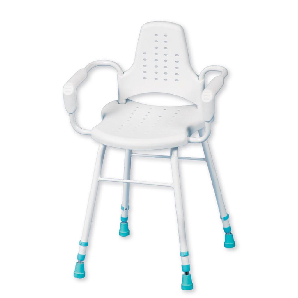 Modularer Duschstuhl Prima Stehhilfe- Duschhocker für vielseitige Anwendungen- Stehstuhl mit Armlehnen- bis 190kg