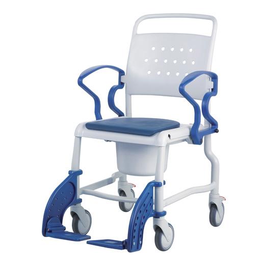 Rebotec Boston Toilettenrollstuhl in grau-blau bis 150 kg Körpergewicht inkl- Eimer und Armlehnen- 4 arretierbare 5-Zoll Räder