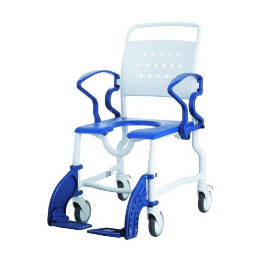 Rebotec Toiletten-Rollstuhl Erfurt mit 5 Zoll Rädern grau-blau Toilettenstuhl incl- Eimeraufnahme- Eimer und Sitzpolster