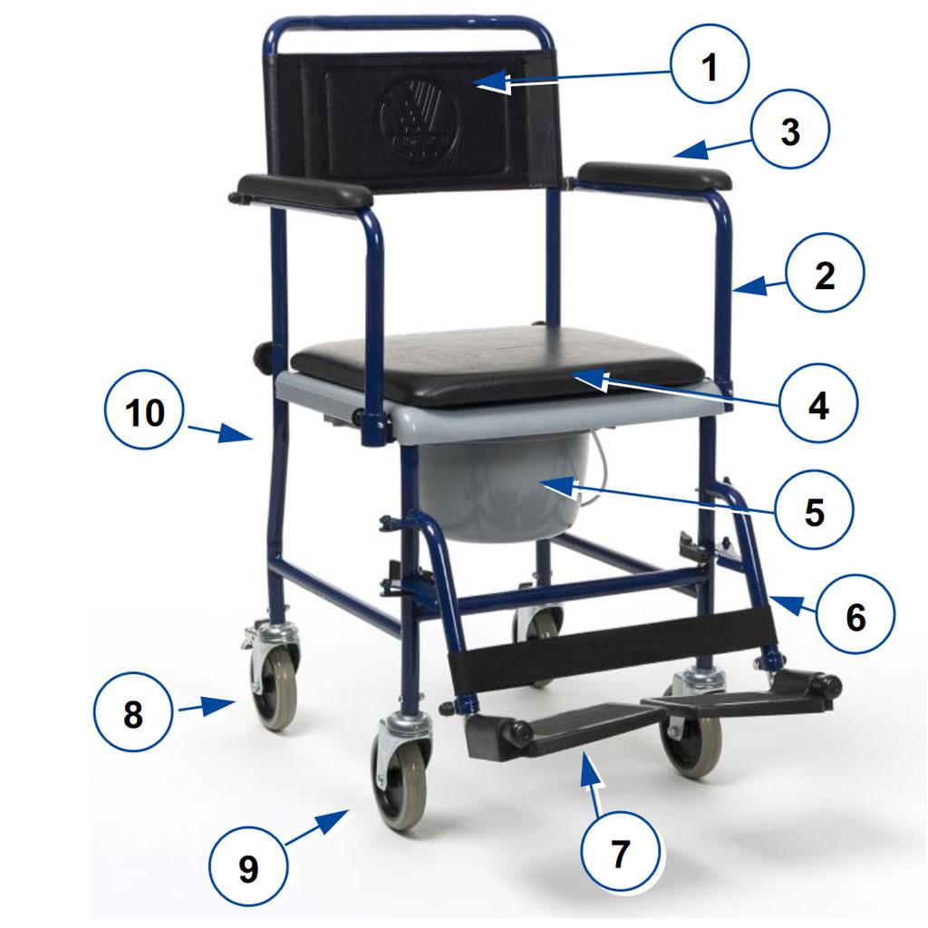 Vermeiren 139E Toilettenstuhl- blau- fahrbar- mit abklappbaren Armlehnen und Beinstützen- 4 Lenkräder- Sitzfläche gepolstert- Eimer Geruchsversiegelung- bis 120kg (sofort lieferbar)