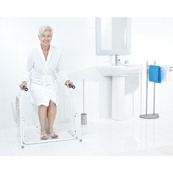 WC-Aufstehhilfe mobil inkl- Ablagekorb bis 100kg belastbar- Farbe weiss